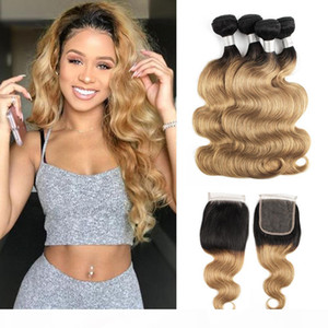 1b 27 Blonde Ombre Brazilian Human Hair Weave Bundles With Lace Closure 1b 30 2 Tone Body Wave 3 Bundles With Closure Remy Hair Extensions