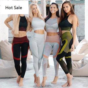 Yoga Set Seamless Sportif Openwork Mesh Back Design Femme 2 Pièce Exercice Gym Leggings Sports Bras Sets Fitness Sport Costume
