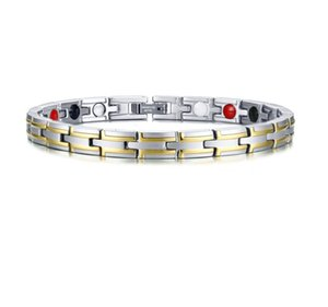 Drop shipping brand new top quality men's stainless steel magnet bracelet germanium bracelets negative ion fashion jewelry factory 138gs