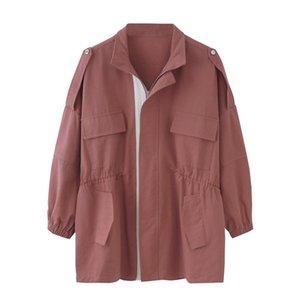 Herramientas chaqueta párrafo del otoño del resorte básico medio-largo de gran tamaño de pie cuello del abrigo elástico de la cintura delgada coreana versión