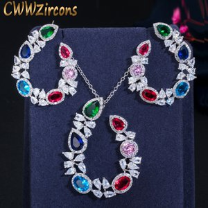 CWWZircons Unique Designer Multicolor CZ Ladies Jewelry Sets Big Cubic Zirconia Crystal Flower Earrings and Necklace Set T383 F1202