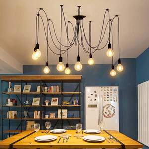 LED Chandelier DIY Art Spider Ceiling Lamp Fixture Light Hanging Nordic Retro Edison Bulb Light Vintage Loft Antique hanging
