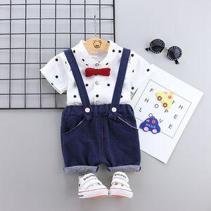 Toddler Baby Boy Clothes Gentleman Set Dot Shirt + Shorts with Belt Children Clothing Boys Infant Kids Outfit Cotton Summer Sets