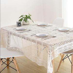 Pamuk örgü dantel masa örtüleri perişan şık Vintage tığ işi Tablecloth El Yapımı Pamuk Dantel masa kaban