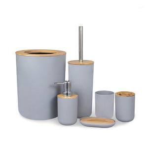 6 unids / set BAMBOO Wood Wood Set Soporte de cepillo de dientes Sujetador de jabón Basura Basura Cepillo de inodoro Contenedor1