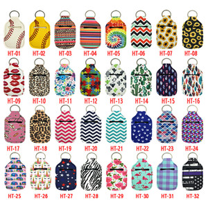 96 Styles Neoprene Hand Sanitizer Bottle Holder Keychain Bags 30ml Printed Hand Soap Bottle Holder with Key Rings Xmas Gift Free DHL