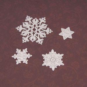 4 adet / takım Kar Tanesi Kesme Ölür Noel Metal Kesme Ölür Şablonlar DIY Scrapbooking Albümü Kağıt Kart Için Die Kesim HH9-3656