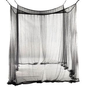 4-Corner Netting Canopy Mosquito Net for Queen King Sized 190*210*240cm (Black) Bed Curtain Room Decoration