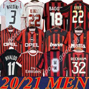 Rétro classique 1991 92 93 94 96 97 98 99 2000 01 02 03 04 2006 2007 Milan Soccer Jerseys Pirlo Maldini Kaka AC 09/10 Chemise de football rétro