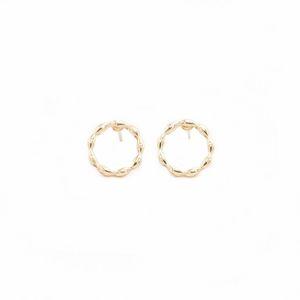 Vagues créatives Circle Circle Design StudRings Boucles d'oreilles TRENDY STYLE ROND GOLD Couleur de rose blanche adaptée aux femmes
