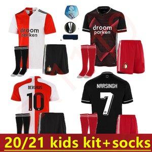 Мужчины 20 21 Дети Feyenoord Soccer Jersey Kits 2020 2021 Kokcu Berghuis fer jorgensen Сенези Домашний Домашний набор футболки