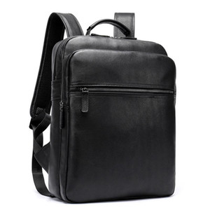 Luuafn Classic Design Black Laptop Business Backpack Of Men Genuine Leather Computer Bag With USB Cable Connector Men Daypack