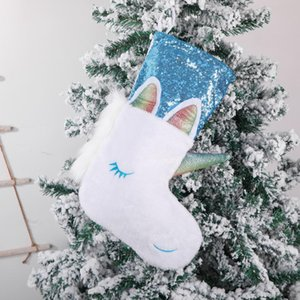 Licorne Noël Stocking Christmas Pending Party Décoration Xmas Porte-bonbons Grand Belle Chaussettes de Licorne Saquine Owe3034