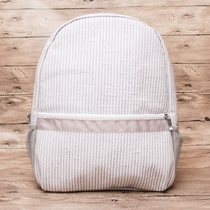 Gray Seersucker Book Bag Wholesale Blanks Striped School Bag New Colors School Gift Backpack