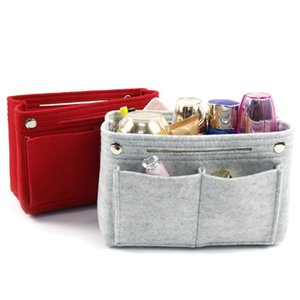 New Multifunction Women Felt Insert Bag Makeup Cosmetic Bags Travel Inner Purse Portable Handbag Storage Organizer Tote 4 Color