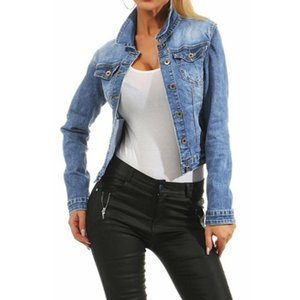 2020 Autumn and Winter New Fashion Hot Sale Women Casual Fashion Denim Jacket Long Jean Coat Bead Outwear Overcoat A55