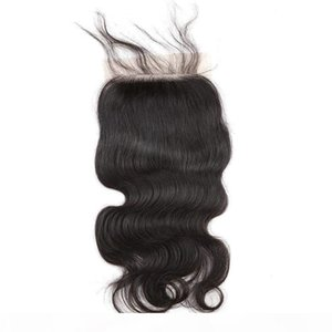 Silk Base Lace Closures Body Wave Brazilian Virgin Unprocessed Human Hair Weaves Closure with Baby Hair Pieces Natural Color Bellahair