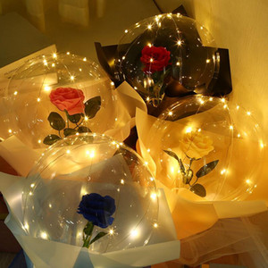 LED Light Luminous Balloon Rose Bouquet Transparent Bubble Rose Flashing Light Bobo Ball for Valentines Day Birthday Wedding Decor E121802