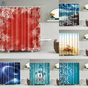 Christmas Shower Curtain Shell Snowman Flower Lighthouse Shower Curtains Bathroom Curtain Frabic Waterproof Polyester with Hooks