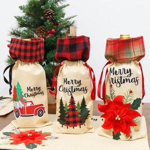 Cubierta de la botella de vino de Navidad Flower Car Red Wine Bag Navidad Champagne Funda Botella de Navidad Decoración de la botella de vino HH9-2555