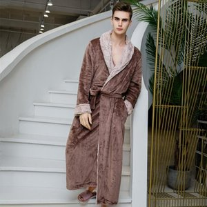 Men Kimono Bathrobe Gown Flannel Robe Autumn Winter New Sleepwear Male Nightgown Thick Coral Fleece Nightwear Homewear Lingerie