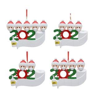 Resin Christmas Ornament Greetings Quarantine Christmas Birthday Party Pandemic Social Distancing Christmas Tree Pendant Accessories AHC3995