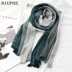 New Fashion Women Foulard Winter Cotton Warm Gradient stripes Long Shawl Hijab Wrap Comfortable Elegant Wrap
