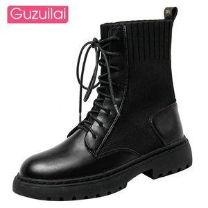 Guzuilai 2020 Новый Все-матч Осень Дышащий Мотоцикл Короткие Сапоги Кожаные Черные Ботинки Мода