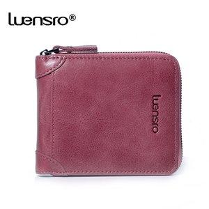 LUENSRO 2020 Nouveau Portefeuilles en cuir véritable Porte-femmes carte de crédit Zipper Petit portefeuille pour les filles Porte-monnaie court C1115