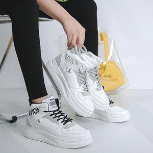 SHOFORT WHITE Damen Schuhe 2020 Mode lässig Solide Farbe Allgleiches Lace-up Sneakers atmungsaktive High Top Höhen Plattformschuhe