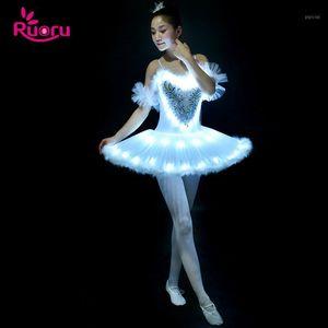 Ruoru Professional Ballet Tutu LED Swan Lake Adult Ballet Dance Clothes Tutu Skirt Women Ballerina Dress for Party girls1