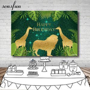 Sensfun Safari Jungle Fondos de fondo para niños Cumpleaños Verde Hojas Gold Animals Giraffe Lion Wild Una fotografía Fondos1