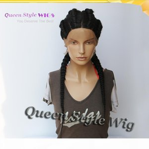 Sexy Lady 4 Braids Braided into Two Hairstyle Wig Synthetic Full Lace Wig Double Twin Dutch Braids Hair African American Full Wigs