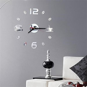 Coffee 3D DIY Clock Roman Numbers Acrylic Mirror Wall Sticker Home Decor Mural Decals sw5