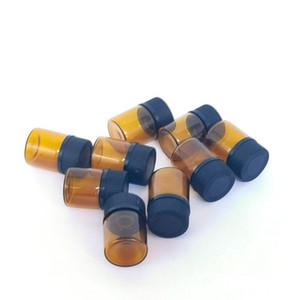 Горячие продажи небольших янтарных эфирных нефтяных бутылок с отверстиями Rducer rducer, 1 мл стеклянной бутылки, коричневые пустые стеклянные флаконы HWE3117