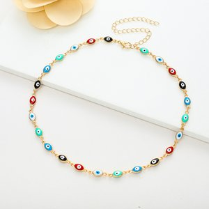 Hot sale new bohemian vintage colorful eyes gold fashion ladies necklace
