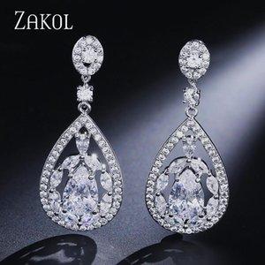 Zakol Classic Micro Pave + CZ Stone Goccia Orecchini cavo Acqua Drop Shape Bridal Jewelry Body Bridal FSEP673