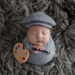 Newborn Photography Wool Hat+Wraps Props Baby Boy Photo Shoot Studio Posing Wrap Props New born Cap fotografia Accessories