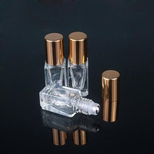 3ML Essential Oil Perfume Bottles Square Clear Glass Roll On Bottle with Gold Silver Cap Stainless Steel Roller