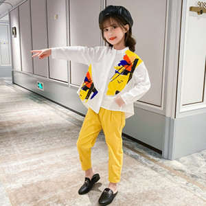 2020 Teenage Spring Autumn Clothing Kid Baby Girl Clothes Fashion Design Long Sleeve Shirt Tops + Pants Outfit Set Tracksuit Y1117