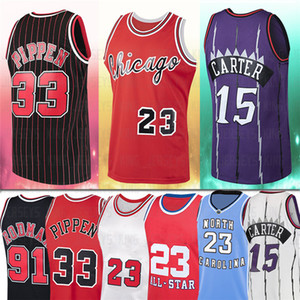 NCAA 23 Rodman Jersey Carter MJ 15 Vince 91 Dennis 33 Scottie Men Pippen 1995 1996 Baloncesto Rojo Jerseys