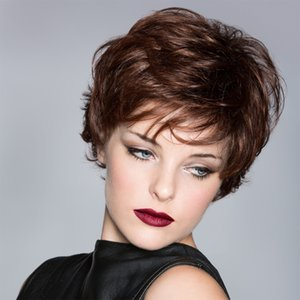 Wholesale Wigs Fashion 23CM Short Curly Remy Lace Front Cheap Synthetic Wig fine quality full lace very human hair wig