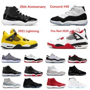 2020 Chaussures de basketball 11S 11 Jubilee 25e anniversaire 4 Feu rouge 1S High Night MOCHA Space Space Bred Concord 45 Sneaker Formateur