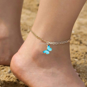 silver gold chain Diamond Anklet bracelet Butterfly anklet chain for women fashion jewelry gift will and sandy drop ship