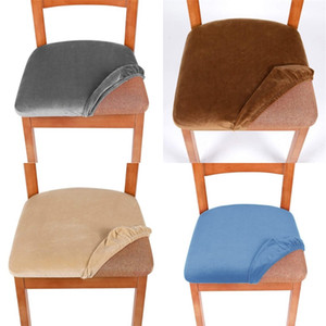 Removable Washable Chair Covers Household Velvet Dining Chairs Cushion Elastic Winter Spandex Dustproof Seat Cover Currency Home 7zf M2