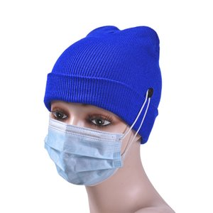 Unisex Beanie Winter Hat with Facemask Botton Mask Holder Matching Knitted Cap Hat Mens Solid Crochet Hats Ski Earmuffs Skull Cap E122807