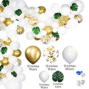 Beyaz Altın Parti Tema Balon Garland Set 100 ADET Yapay Palmiye Yaprak Balon Düğün Doğum Günü Dekorasyon