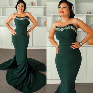 New Sweetheart Beaded Evening Dresses 2021 Long Sweep Mermaid Bride Robe De Marrige Zipper Back Women Prom Vestidos