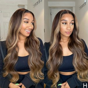 Highlight Wavy T-part Lace Front Human Hair Wigs 8''-28'' Brazilian with Baby Hair 180% Density Non-Remy Wigs Medium Ratio
