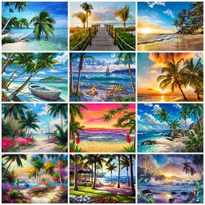 EverShine 5D Diamond Painting Kits Seaside Diamond Embroidery Landscape Mosaic Picture Coconut Tree Art Home Decoration
